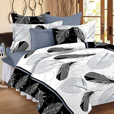 IVAZA Premium 160 TC Polycotton Latest Beautiful 3D bedsheet Double Bed with Two Pillow Covers (Picock White)