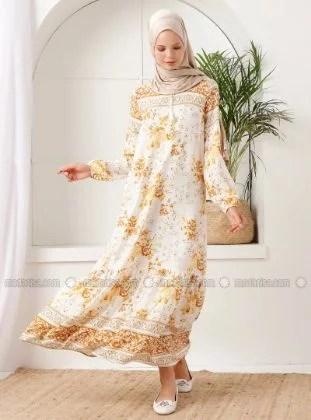 İnşirah - Mustard - Floral - Crew neck - Unlined - - Dress