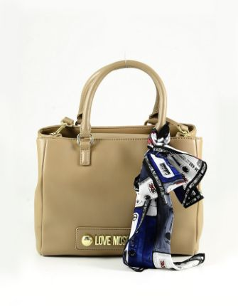 LOVE MOSCHINO - Camel Eco Leather Double handles Tote Bag