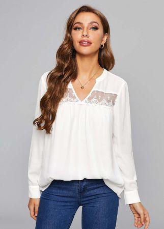 Long Sleeve Lace Stitching Split Neck Blouse