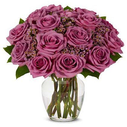 Long Stemmed Purple Roses, Purple Waxflower in a Vase with Lavender Bracelet