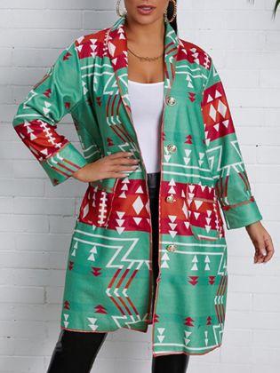 Lovely Casual Turndown Collar Print Loose Green Coat