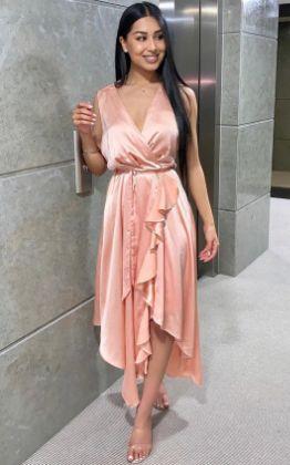 Lynn Frill Hem Midi Dress in Rose