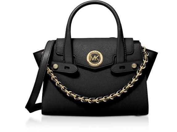 MICHAEL KORS - Black Carmen Extra-Small Saffiano Leather Belted Satchel Bag