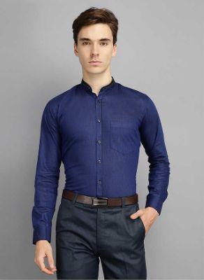 Men Kingsmode Navy Regular Fit Party Wear Shirt