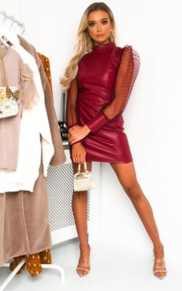 Nelly Faux Leather Mini Dress in Wine