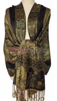 Paisley Flower Shawl Black - Gold