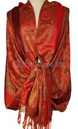 Paisley Flower Shawl Orange - Red