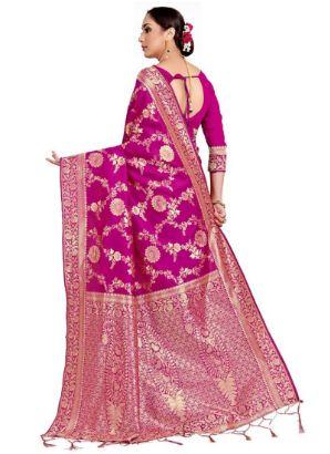 Pink Benarasi Art Silk Saree