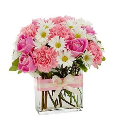 Pink Roses & Carnations, White Daisies in a Rectangle Glass Vase