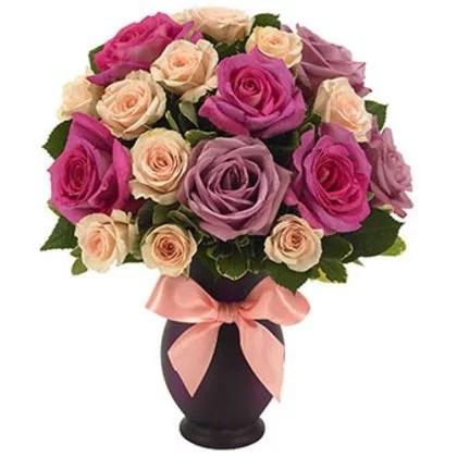 Purple, Peach & Pink Roses in vase