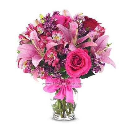 Regular Size with Pink Asiatic Lilies, Pink and Red Roses, Purple Waxflowers, Alstroemeria in a Glass Vase