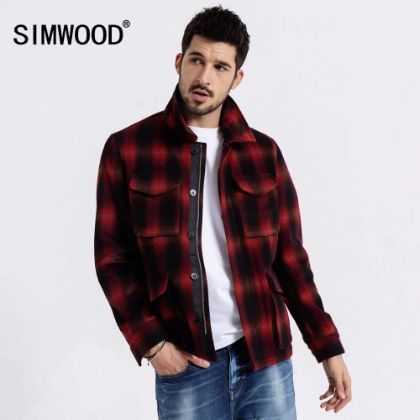 SIMWOOD 2020 spring New Woolen Plaid Jacket Men Fashion Contrast Color Letter Coats High Quality Outwear Brand Clothing 190041