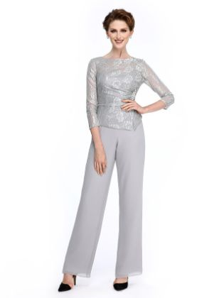 Sheath - Column Pantsuit Bateau Neck Ankle Length Chiffon Lace Mother of the Bride Dress with Crystal Brooch Sequins by LAN TING BRIDE®