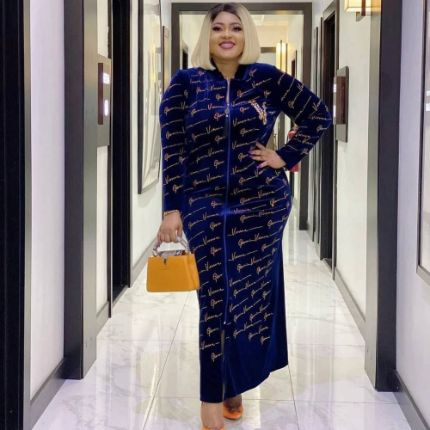 Velvet African Dresses For Women 2021 Spring Autumn Africa Clothing Muslim Long Maxi Dress High Quality Fashion Dress Lady