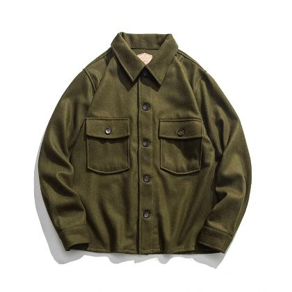 Vintage 70s Woolen CPO Shirt Jacket US Navy Men's Military Coat Olive Green 44