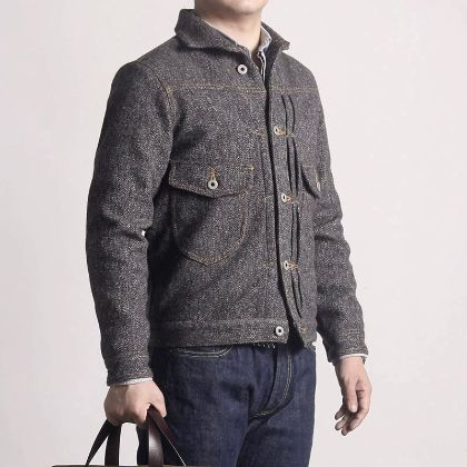 WT-0002 Rock Can Roll Read Description! Asian Size Washed Hand-Made Man's Vintage Super Heavy 500Gsm Wool Casual Stylish Jacket
