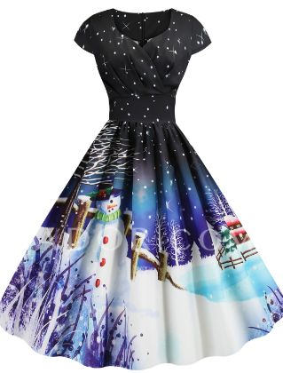 Women Vintage Christmas Printed Short Sleeve V-Neck Bow Knot A-Line Swing Dress Suit Tube top Cardigan Set Dress