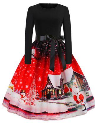 Women's A-Line Dress Knee Length Dress - Long Sleeve Print Bow Print Fall Vintage Christmas Party Slim 2020 Blue Purple Red S M L XL XXL
