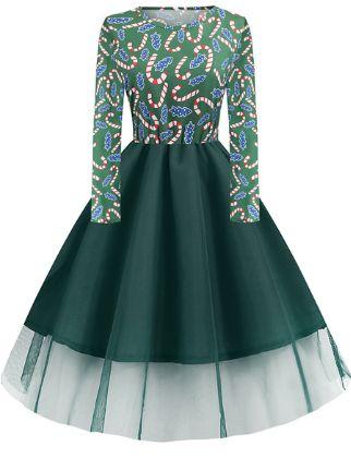 Women's A-Line Dress Knee Length Dress - Long Sleeve Print Lace Patchwork Print Fall Winter Casual Christmas Halloween 2020 Black Blue Red Army Green Green S M L XL XXL 3XL 4XL 5XL