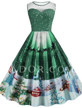 Women's A-Line Dress Knee Length Dress - Sleeveless Print Lace Print Summer Fall Vintage Christmas Slim 2020 Blue Purple Red Blushing Pink Green S M L XL XXL 3XL 4XL 5XL