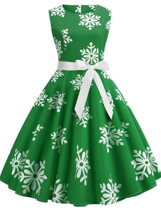 Women's A-Line Dress Knee Length Dress - Sleeveless Print Lace up Fall Strapless Elegant Christmas Slim 2020 Blue Red Green S M L XL XXL