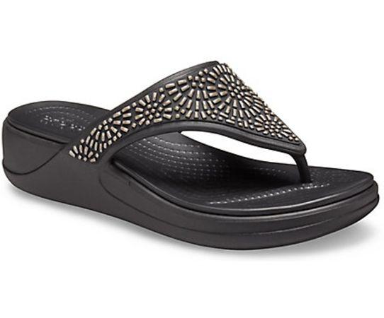 Women's Crocs Monterey Diamante Wedge Flip