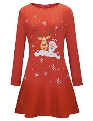 Women's Dresses Christmas Black old man Black snowman Blue Red Green S M L XL XXL