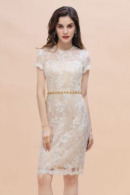 BMbridal Chic Jewel Tulle Lace Beadings Mother of Bride Dress with Short Sleeves Online