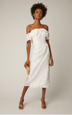 Carolina Herrera Bridal - Harley Off-The-Shoulder Bow-Embellished Silk Midi Dress