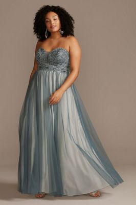 Corded Lace Embellished Bodice Plus Size Gown
