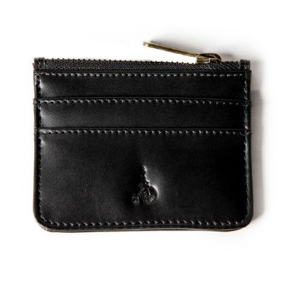 ERIN BLACK - Black Leather Card and Coin Holder