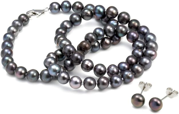 Eternal Black Pearl Necklace and Earring Set