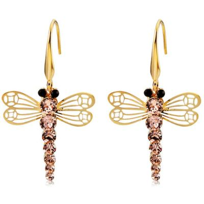 Gold-plated Openwork Wings Crystal Earrings-Gold