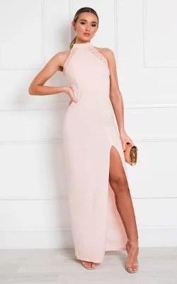 IKRUSH Gillian Bodycon High Neck Maxi Dress Blush