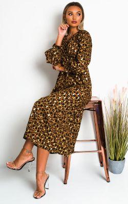 IKRUSH Lora Printed Frill Maxi Dress LEO