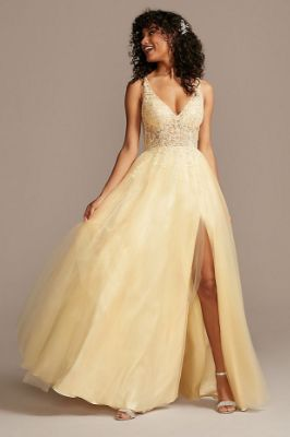 Illusion Bodice Tulle Ball Gown with Corded Lace