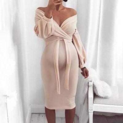 Maternity Deep V Off-The-Shoulder Knit Bag Hip Long Sleeve Dress