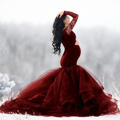 Maternity Elegant Lace Splicing Mesh Long Sleeve Evening Dress