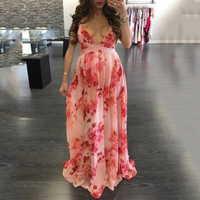 Maternity Floral Open Back Maxi Dress