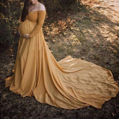 Maternity Long Sleeve Elegant Pure Color Dress