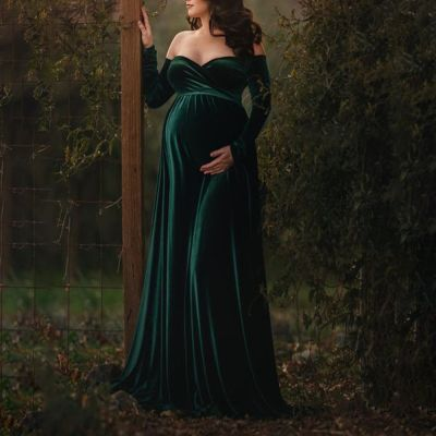 Maternity Sexy Long Sleeve Strapless Shoulder Dress