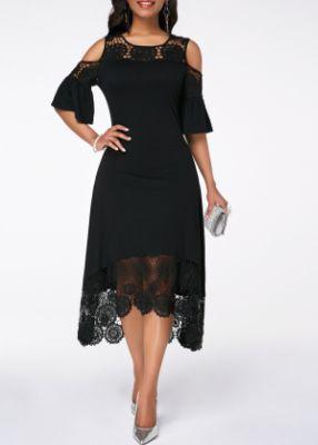 ROTITA Flare Cuff Cold Shoulder Lace Panel Crochet Detail Dress