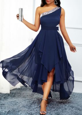 ROTITA Navy Blue One Shoulder Asymmetric Hem Dress