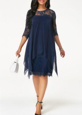 ROTITA Three Quarter Sleeve Chiffon Overlay Navy Blue Lace Dress