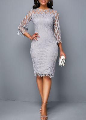 ROTITA Three Quarter Sleeve Round Neck Lace Panel Light Grey Dress