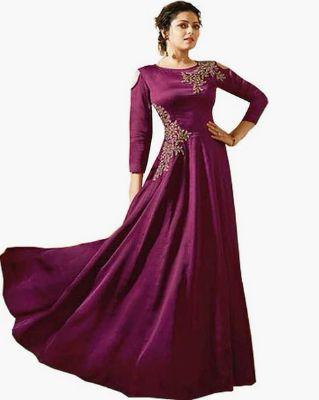 SAADHVI - Embroidered Cold-Shoulder Gown Dress