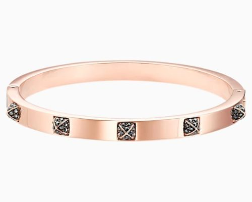 TACTIC BANGLE, BLACK, ROSE-GOLD TONE PLATED