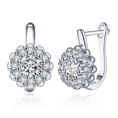 Zircon Earring with Floral Diamond-Encrusted Romantic Wind Earring Clip-Silver