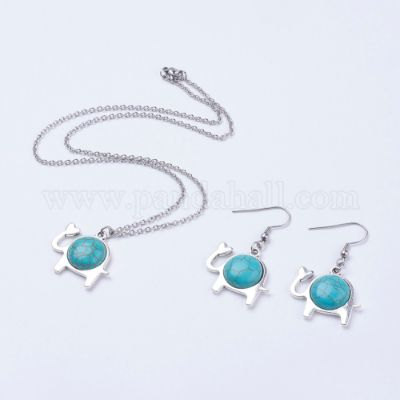 304 Stainless Steel Jewelry Sets, Earrings & Neacklaces, with Synthetic Turquoise & Antique Silver Plated Alloy Elephant Pendants, with Cardboard Jewelry Set Boxes, 17.5 inches
